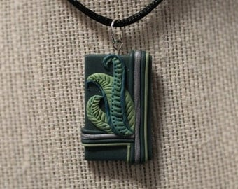 Framed Leaves Polymer Clay Necklace Pendant