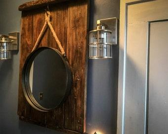 Vintage Barn Wood Mirror with Hemp Hanger