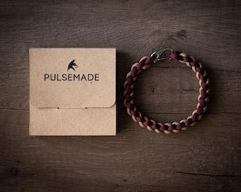 Men's Women's bracelet-marc-Unisex gold-Pulsemade Weave Collection-Handmade paracord 550 Bracelet Mens-Womens Burgundy-Gold
