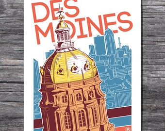 Des Moines Capitol Screen Printed Poster