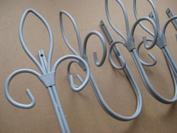 4 vintage french decorative fleur de lis metal coat hooks - Fleur de lis coat hook ...
