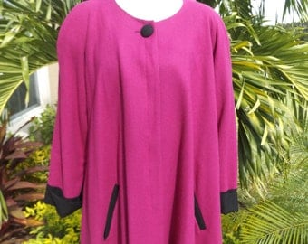 VTG 50's ICONIC MAGENTA Swing Coat Size 12 Winter Coat