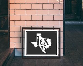 Texas - Texas Print - State Print - Texas Word Print - Texas State Print - Texas Wall Art