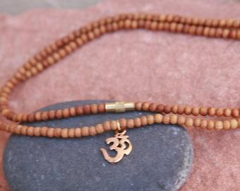 sandalwood beads,24k gold plated sterling silver om,tiny mala,mala,mala beads, prayer beads, prayer necklace,om necklace,meditation