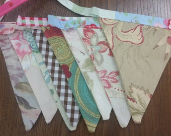 Vintage style bunting 3m  8 flags