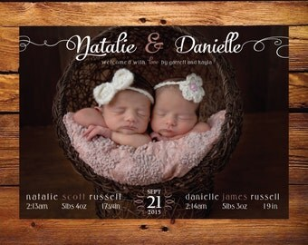 TWIN Photo Birth Announcement - girl pink