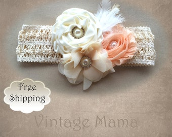 Girls Vintage Headband - Peach Crochet with Flowers, Pearls, & Feathers - Newborn to 5yr