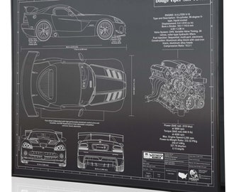 Dodge Viper SRT 10 ACR Laser Engraved Wall Art Poster. Engraved On Metal,