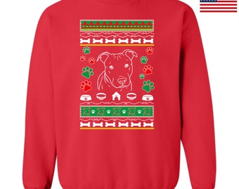 Ugly Christmas Sweatshirt Pitbull Dog Design Ttd12