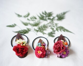 Hair band/ Handmade Leather flowers Leaf