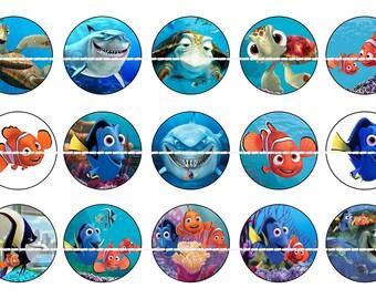 "INSTANT DOWNLOAD- Finding Nemo- 1 Inch Bottle Cap Image- Nemo and Dory Bottle Cap Images- 1 inch circles- 4"" X 6"" Digital Image"