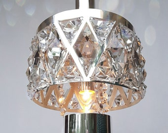 A very rare Mid century modernist cut diamond crystal/silver Austrian Bakalowits chandelier