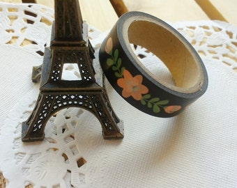 Cute ZAKKA TreeInArt Washi Tape/ DIY Scrapbooking Adhesive Paper/Black with Flowers /1 PC/5M