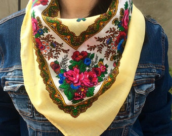 Russian headscarf , russian style, babushka headscarf , russian headscarf , russian flower headscarf