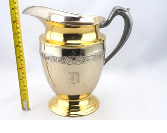 Vintage Silver Plated Water Pitcher with Golden Tone, Electroplate Pitcher