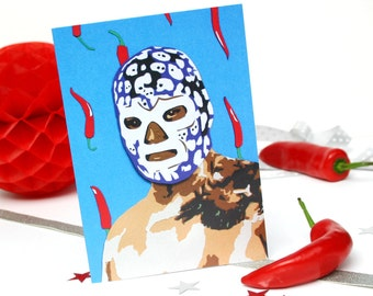 Lucha Libre Luchador Card - Lucha Libre Mask Birthday Card - Mexican Wrestler - Mexican Wrestling - Greetings Card - Chillies