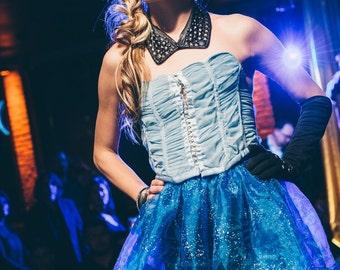 Blue Sparkle Skirt with Satin Band