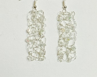 Silver Rectangular Crochet Wire Earrings With Crystal Beads