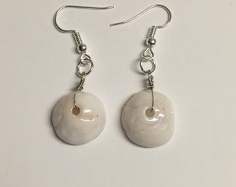 Puka Shell Silver Wire Wrapped Earrings