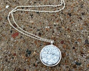 Bright Silver Druzy Necklace