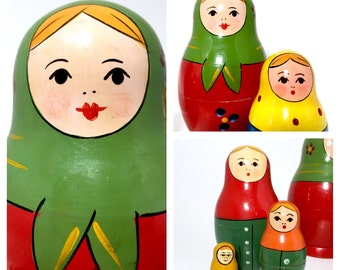 USSR Vintage Nesting Dolls. Soviet Toy. Miniature Red Babushka Button Dot Flower Maidens, Zagorsk Russian Stacking Doll. Set of Five.