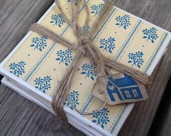 Set of 4 Ceramic Tile Coasters Flowers/Blue Floral