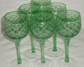 Set Of Six GREEN Art Deco CRYSTAL Glasses Cut To Clear STAR Cut