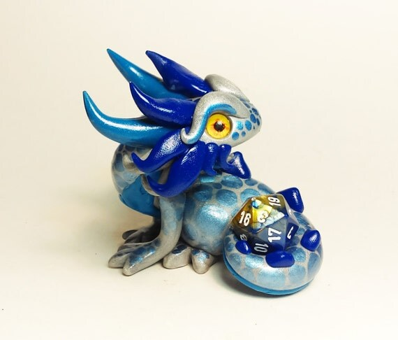 Polymer Clay Dragon Dice Holder- Silver, Medium Blue, and Cobalt Blue: Ixxus