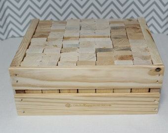1x2 Jenga Crate for Extended Size Giant Jenga Set - Includes 9 Free Pieces! Holds 90 Blocks! - Giant Jenga Wedding Guestbooks!