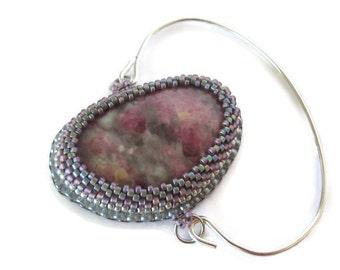 Rose and Grey Medallion bracelet embroidered, Pink and grey Fine Bracelet