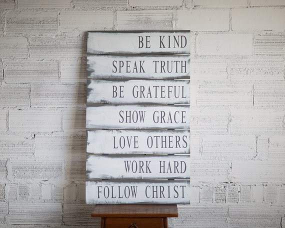 Family Rules Sign | Christian Values sign | Family Values | Gift for Her | Rustic Sign | Family Rules Wood Sign | Pallet Wood Sign