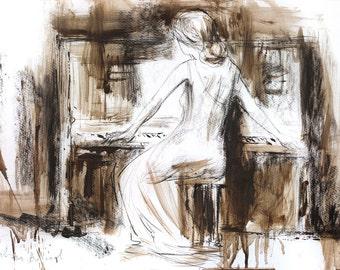 Woman drawing, Giclee art print, Woman Sketch, Piano Wall art, Modern Artwork, Graphic art print, Wall decor Woman print, Figurative art