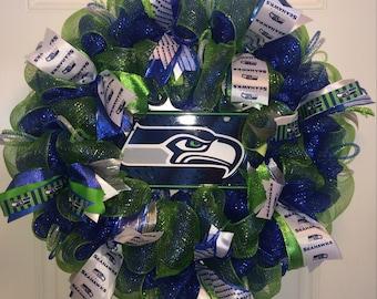 """26"""" Seattle Seahawks NFL Deco Mesh Wreath"""