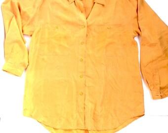 70's oversized 100% silk blouse. Mustard colored silk shirt, business top