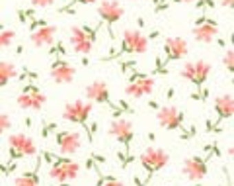Robert Kaufman  - Sevenberry Petite Fluers Coral - SB-6100D3-4 - Coral - Flowers - Floral - Print - Small Flowers - One More Yard