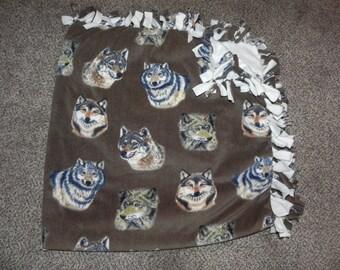 "Hand Made No Sew Fleece Wolves Blanket 61"" x 61"""