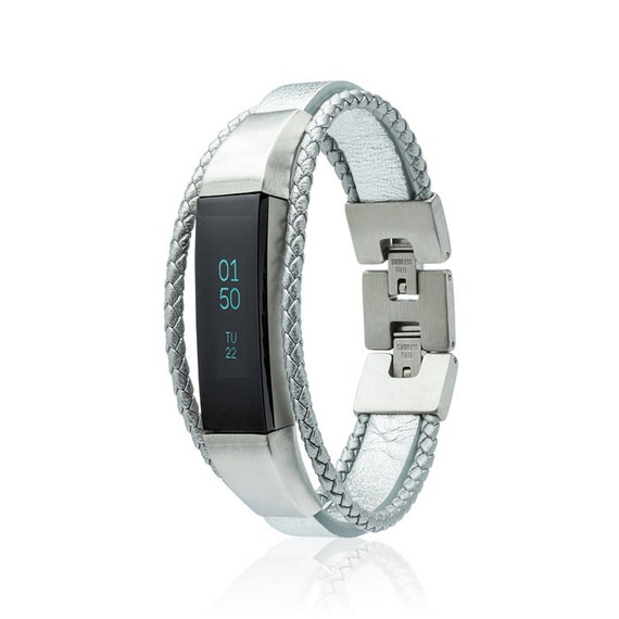 Bracelet  Aurel -  for Fitbit Alta - Alta HR - Jewelry - Silver - Stainless steel and real leather