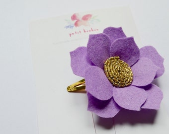 Lilac Flower Hair Clip -  Felt Flower on gold snap clip with glitter fabric center