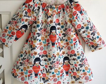 Organic Baby Girls Dress  / Size 2 Years / Long Sleeve Dress /  Organic Dress / Girls clothing Floral dress / 24 months 2T