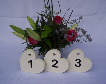 Set of 10 freestanding MDF Wedding Table numbers in cream
