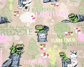 zm022A - 1 Yard SDLP Cotton Polyester Poplin Fabric - Characters, Sesame Workshop Oscar The Grouch, Every Day Is Earth Day - Khaki (W140)