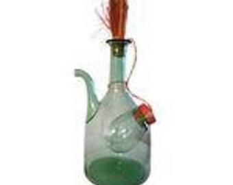 Vintage Italian Green Blown Glass Wine Carafe