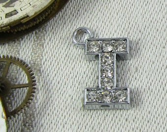 "Rhinestone Letter ""I"" (1 each) Charms, 1 each per package. ALF016i"