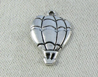 Set of (10) Silver Hot Air Balloon Charms 10 per package TRV019