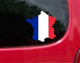 2 Pieces France Outline Map Flag Vinyl Decals Stickers Full Color/Weather Proof. U.S.A Free Shipping