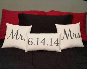 Mr, Mrs, Wedding Date Throw Pillow Set of 3 | Wedding Gifts Set | Anniversary Gifts | Gifts for wife | Gifts for husband | Engagement Gift