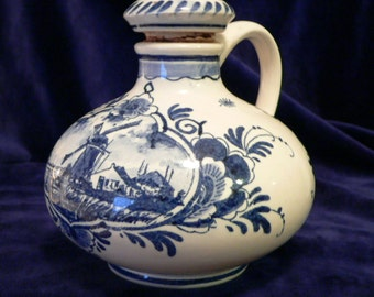 Dutch Delft Bols Small Liquor Bottle Decanter