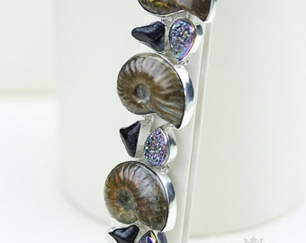 AMMONITE WINDOW DRUSY Shark Tooth Fossil 925 Solid Sterling Silver Bracelet & Free Worldwide Shipping b957