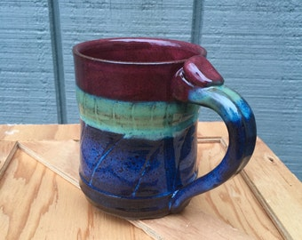 Wheel thrown stoneware mug holds 12 oz