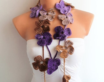Flower Scarf Hand Crochet Lariat Scarf, Purple and Brown